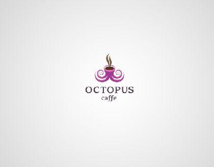 Octopus caffe Logo mit Symbol Charakter