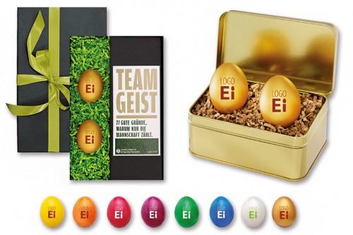 Der edel&fein Tipp für ein ausgefallenes Ostergeschenk: das Logo-Ei.