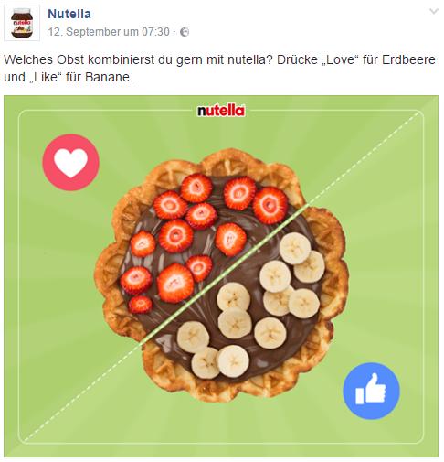 Facebook Nutella Like vs. Love