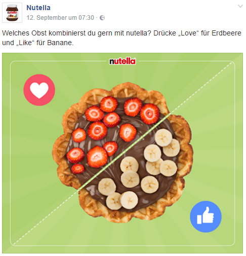 Facebook Nutella Like vs. Love